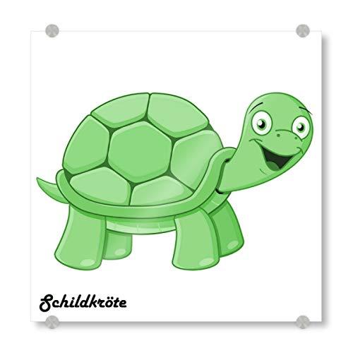 artboxONE Acrylglasbild 20x20 cm Für Kinder Schildkröte Afrika Bild hinter Acrylglas - Bild schildkröte Afrika Comic