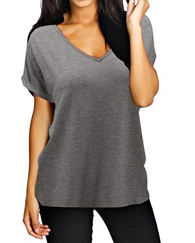 ZANZEA Damen V-Ausschnitte Kurz Ärmel Lose Langshirt T-Shirt Tops Bluse Grau EU 48/Etikettgröße 2XL