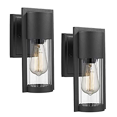 Osimir Exterior Wall Mount Light 2 Pack, 1-Light Outdoor Wall Sconce in Black Finish with Clear Ribbed Glass Lamp Shade, 2254/1W-2PK