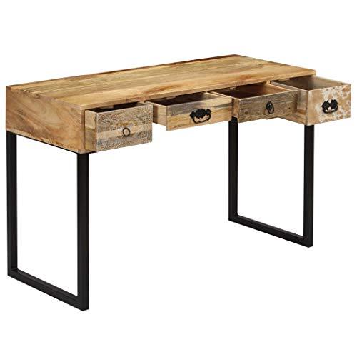 Tidyard- Schreibtisch massives Mangoholz und Echtleder Computertisch Arbeitstisch Holztisch PC Tisch 117x50x76 cm