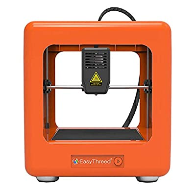 3D Printer, EasyThreed Mini Desktop 3D Printer DIY Kit with Slicing Software and Magnetic Removable Platform for Beginners Kids Teens,Support One Key Printing,Very low noise,Orange