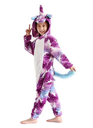 Kids Unicorn Onesie Pajamas Animal Costume Halloweem Costume Purple 105#