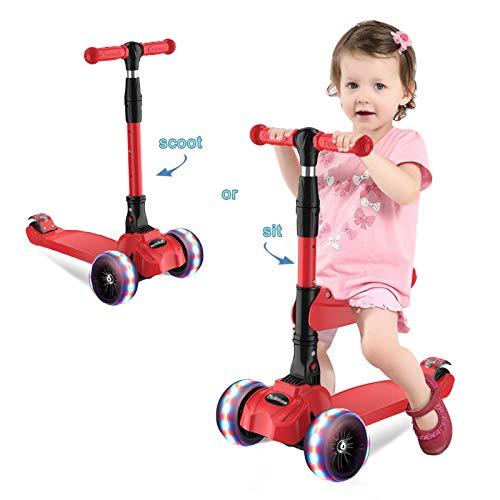 Barakara 3-in-1 Roller Kinder Kinderroller Faltbar Scooter, Dreirad für Kinder mit Abnehmbarem Sitz, Sicher LED Große Räder, Höheverstellbare Lenker für Mädchen & Jungen ab 2-13 Jahre rot