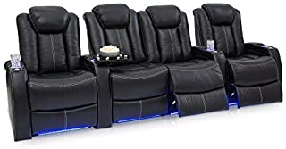 Seatcraft Delta Home Theater Seating Leather Power Recline, Powered Headrests, and Built-in SoundShaker (Black, Row of 4 with Middle Loveseat)