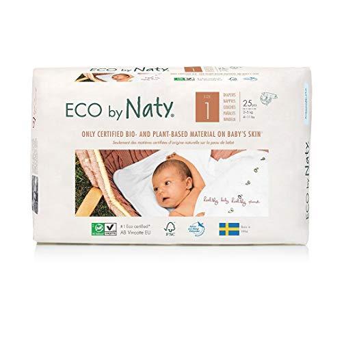 Eco by Naty, Größe 1, 100 Windeln, 2–5kg, MONATSVORRAT, pflanzliche Premium-Bio‑Windeln mit 0% Plastik auf der Haut, 4er Pack (4 x 25 Stück)