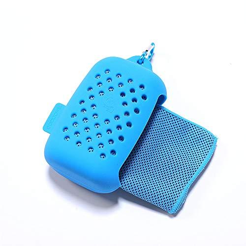 Rpanle Toalla de Enfriamiento, Toalla Fría de Hielo de Microfibra, con Bolsa de Almacenamiento de Silicona, Toalla de Hielo Fría Instantánea para Running Yoga Playa Gimnasio (Cielo Azul)
