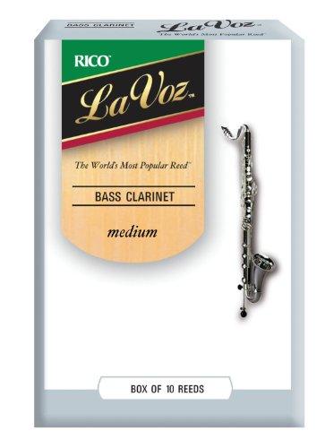 D'Addario Woodwinds La Voz Bass Clarinet Reeds, Strength Medium, 10-pack - REC10MD