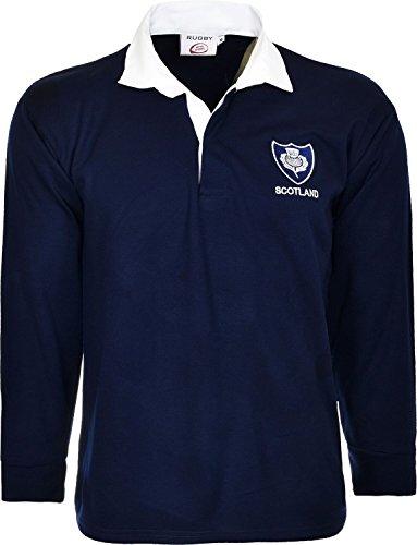 H M Fashion T-shirt à manches longues en jersey avec col rétro classique équipe de rugby Écosse 6 Nations - bleu - petit