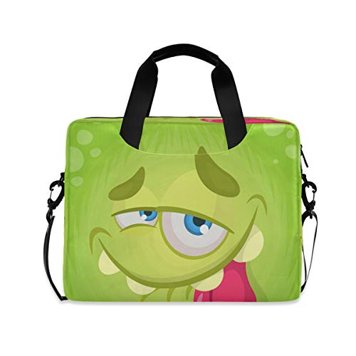 Cute Funny Cartoon Monster Face Halloween Laptop Case 15.6 Inch Computer Carrying Protective Case with Strap Bag