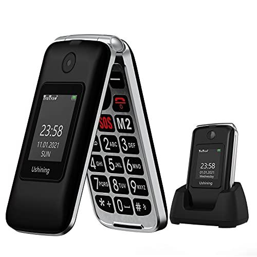 Ushining 3G Teléfono Móvil para Personas Mayores, Teléfono Móvil con Teclas Grandes Base de Carga Botón de Emergencia SOS Doble SIM Radio FM Cámara Linterna - Negro
