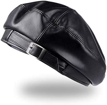 TWDYC Womens Faux Leather Beret Adult Beanie Hat Ladies Flat Solid Color Cool Metal Button Belt Adjustable (Color : B)