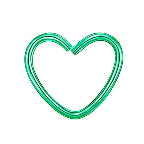 ZhenS Pendientes de Clip de corazón de Estrella de Acero Inoxidable a la Moda para Mujer Punk sin Piercing Pendiente de cartílago Falso 10 Piezas/Juego-Verde-corazón
