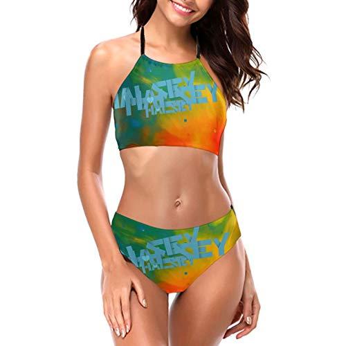 Halsey Bikini Women Halter Breathable Bikini Set Graphic Tow-Piece Swimsuit Black