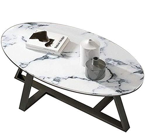 COUYY Mesa de Comedor de Sala de Estar Mesa de café de mármol Natural Oval Café Mesa de café Irregular Efecto de Metal Bandeja Muebles de Acento,70x50x45cm