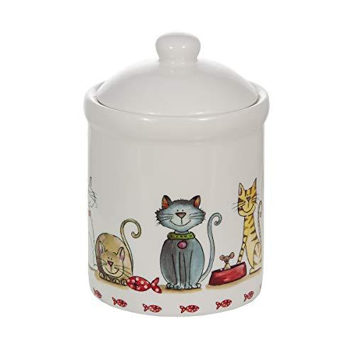SPOTTED DOG GIFT COMPANY Keramik Vorratsdose mit Deckel, Küchen Aufbewahrungsdose, Küche Aufbewahrung mit Katzenmotiv, Katze Deko Geschenk für Katzenliebhaber
