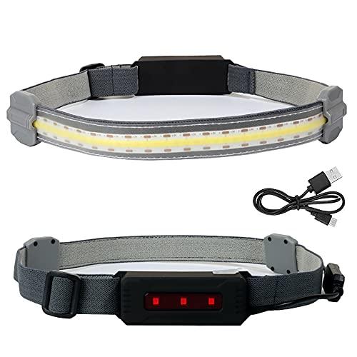 Linterna Frontal LED Broadbeam COB con Diadema elástica 350 lúmenes Luz Frontal Fuerte Carga USB con 3 Modos de luz para Pescar, Correr y Acampar