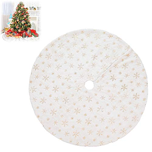 HXXXIN White Christmas Tree Skirt 122Cm Plush Beads Embroidered Christmas Tree Cluster Christmas Tree Decorations,Gold