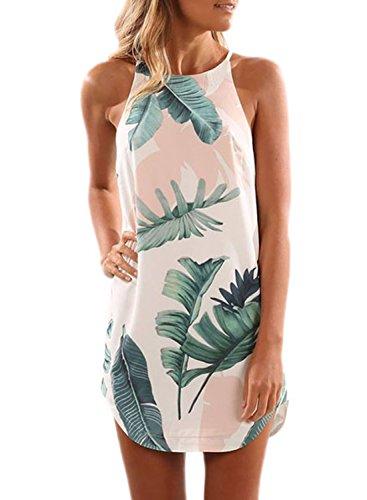 Asvivid Halter Casual Dresses for Women Bohemian Floral Summer Beach Dress Sleeveless Mini Dresses Short Shift Dresses S White
