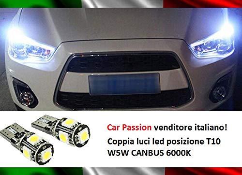 Luci Posizione Led CANBUS T10 W5W 6000K 5 Led SMD Coppia Lampadine SPECIFICHE NO ERRORE