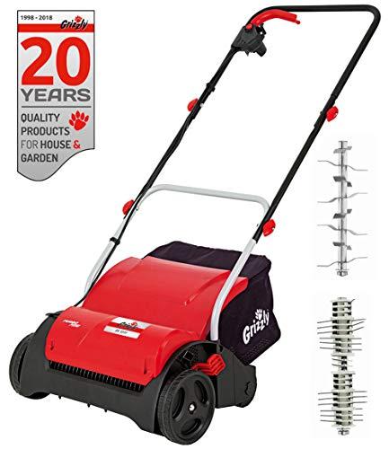 Grizzly Elektro Vertikutierer - Elektrischer Rasen Vertikutierer, Belüfter mit 1200 Watt Motor, 31 cm Arbeitsbreite und klappbaren Griff (Vertikutierer + Lüfterwalze + Fangsack)