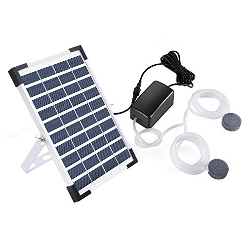 Lewisia 5W Solar Air Pump Kit Battery with Air Hoses and Bubble Stones 3 Working Modes Pond Aerator Bubble Oxygenator AquaponicsFish Tank Koi Pond Aquarium Aquaculture Hydroponics Bubbleponics