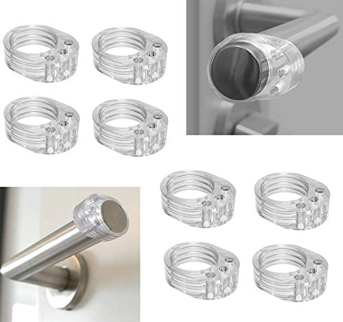 Voarge 8 Pcs Türklinken puffer - transparente Türstopper Klinke, Türgriff Stopper Türgriff Schutz, leicht und schnell montiert zum Schutz vor Beschädigungen an Wand und Möbeln