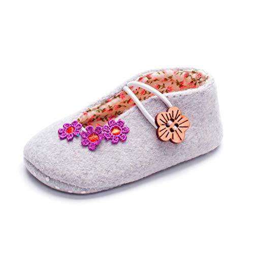 Carozoo cuir souple bébé Chaussure 3 Fleur Feuille Violet 2-3y