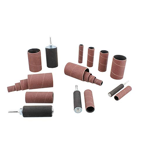 DCT 1/4 Inch Drive Drill Press Sanding Drum Kit - Rubber Sanding Drums (0.5-1.5 Inch) and Spindle Sander Sleeves, 20pc