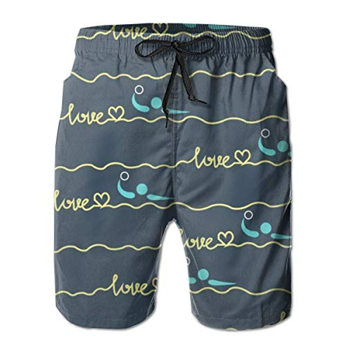 Men Fit Full Elastic Drawstring Cargo Short, Quick Dry Summer Big & Tall Half Pants for Beach Gym Sport, Love Water Polo Heart Best Mom Gift Prints Beachwear, Plus Size, Wrinkle Free