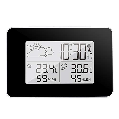 AOZBZ Estación meteorológica inalámbrica Pronóstico Digital Estación meteorológica Interior Termómetro para Exteriores Pronóstico Reloj Reloj Hogar Higrómetro (A)