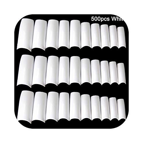 Faux Ongles 100 / 500pcs Ongles Demi Français Faux Ongles Art Conseils Acrylique UV Gel Manucure Astuce @ ME88-500pcs Blanc A-,