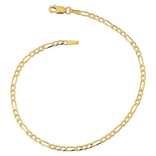 Armband 14 Karat 585 Gold Italienisch Figaro Gelbgold Armkette Breite 3 mm (18)