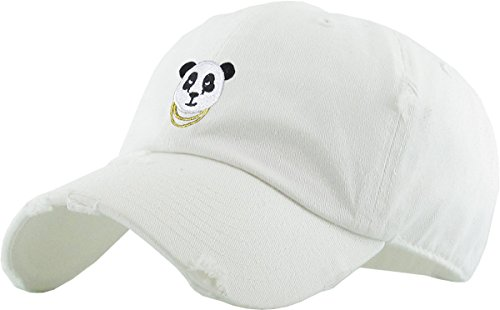 KBSV-056 WHT Panda Vintage Distressed Dad Hat Baseball Cap Polo Style