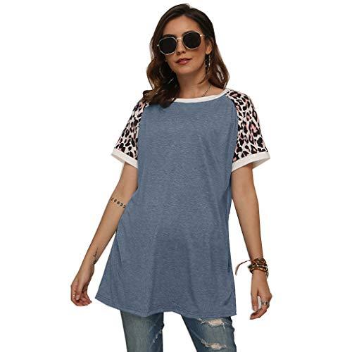 Damen Tops Leopard Colorblock Gestreiftes Kurzarm-T-Shirt mit Rundem Hals und Lässigem Oberteil