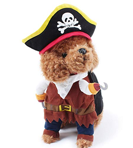 TOPSUNG Cool Caribbean Pirate Pet Halloween Costume for Small to Medium Dogs/Cats, Size S