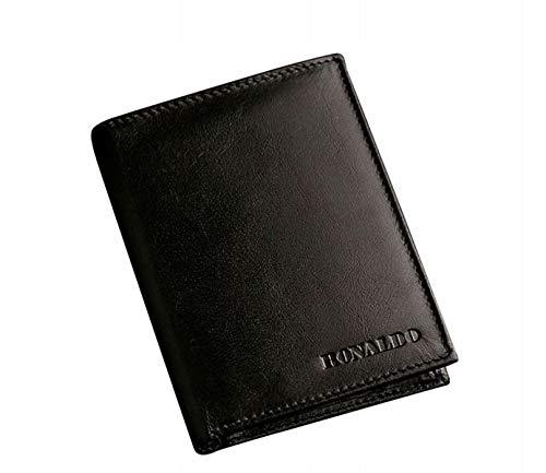 BOLF Herren Geldbörse Echtleder Brieftasche Herrengeldbörse Geldbeutel Geldetui Echtleder Börse Accessiore Ronaldo 602 Schwarz OS [1W1]