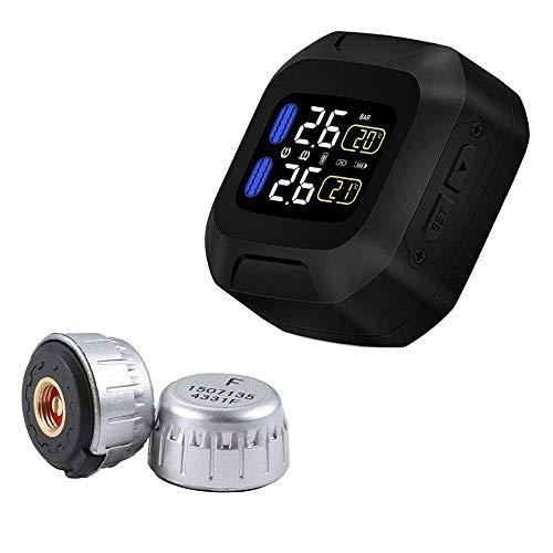 OBEST タイヤ空気圧監視システム TPMS モーターオートタイヤアラーム リアルタイム監視 2センサー付き バイク用 ワイヤレス 防水