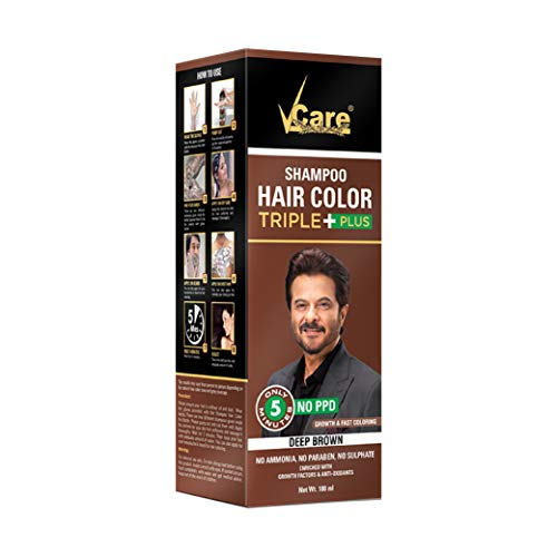 VCare Shampoo Hair Color, Brown, 180 ml