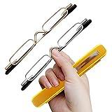 TERAISE 2pack Unisex Mini Gafas de lectura Gafas portátiles Gafas presbiópicas Lectores de bisagra de primavera(3.0X)