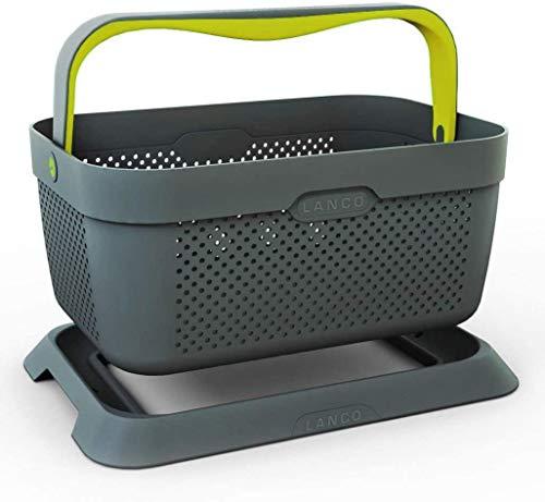 Lanco Automotive LI-9966 Autokorb für Freizeit und Einkauf | einklappbarer Griff | sicherer Stand im Kofferraum | ideal für E-Auto Ladekabel, Grau