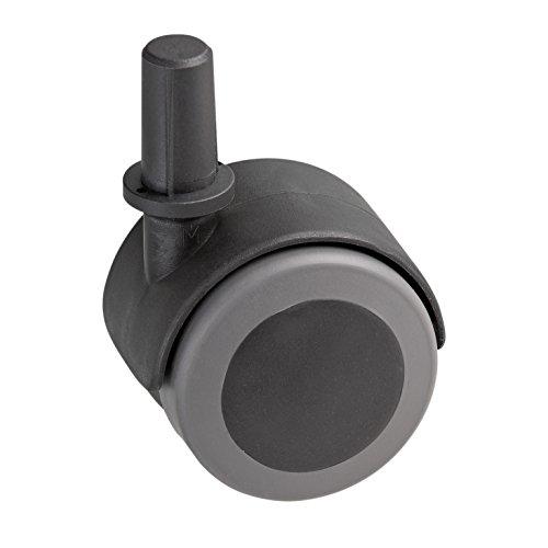 Metafranc Doppelrolle Ø 50 mm - mit Stift und Hülse - TPR-Rad - Weiche Lauffläche - Gleitlager - 50 kg Tragkraft / Transportrolle / Möbelrolle / Containerrolle / Parkettrolle / 800320