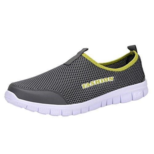 Zarupeng Herren Licht Turnschuhe Atmungsaktive Mesh Freizeitschuhe Walking Outdoor Sportschuhe Flachen rutschfest Sneaker Low-Cut (42 EU, Dunkelgrau)