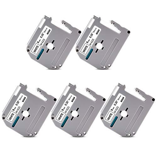 """Unismar Compatible Label Tape Replacement for Brother M Series Tape M-K221 MK221 M-K221s for PT-70BM PT-M95 PT-90 PT-70 PT-65 PT-70SR PT-85 Label Maker, 3/8"""" x 26.2', Black on White, 5-Pack"""