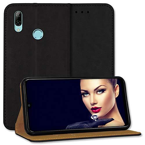 mtb more energy® Leder-Tasche Bookstyle für Xiaomi Mi 9 SE (5.97'') - schwarz - Echtleder - Schutz Hülle Wallet Cover Hülle