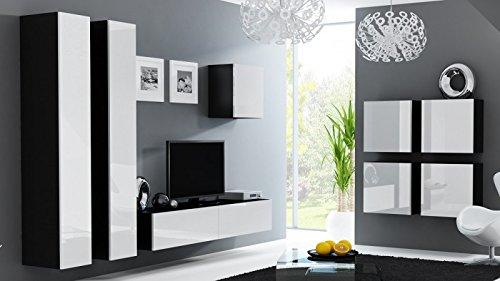 Wohnwand ' Vigo 24' Hochglanz Hängeschrank Lowboard Cube , Farbe:Schwarz . Weiß