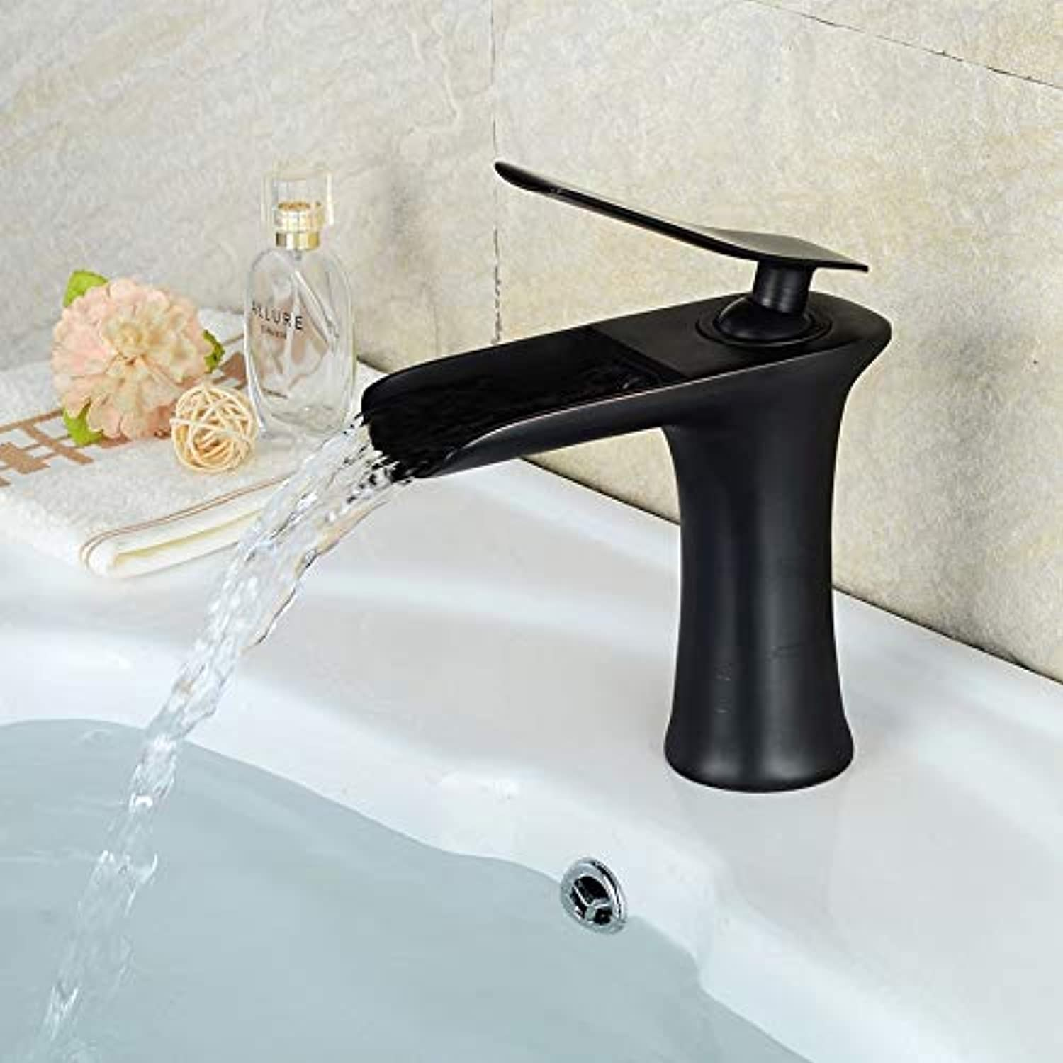 ROKTONG Bathroom Basin Faucet Waterfall Lavatory Sink Taps Cold and Hot Mixer Black,C