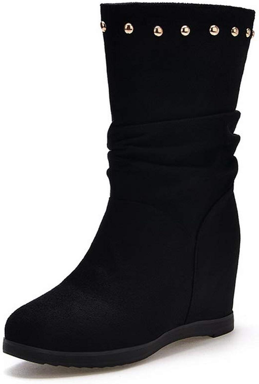 AdeeSu Womens Heighten Inside Grommets Imitated Suede Boots SXC03439