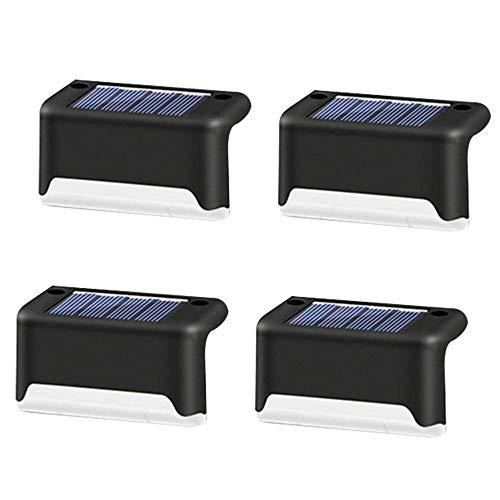Solar Treppe Lampe, 5W Warmweiß Solarleuchten, IP65 Wasserdicht Außen Gartenleuchten für Rasen Auffahrt Gehweg Patio Garden Treppen, Beleuchtung für 8-10 Stunden (Black, 4pcs)