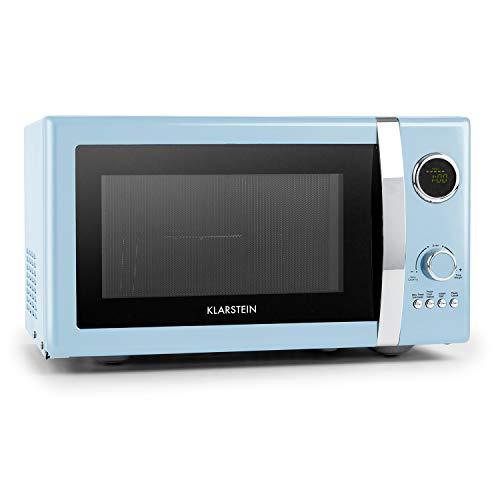 Klarstein Microondas Grill Retro • Carcasa metálica • 23 L • 800 W de potencia de microondas • 1000 W de potencia del grill • Programable • 12 programas • pantalla LCD • Azul