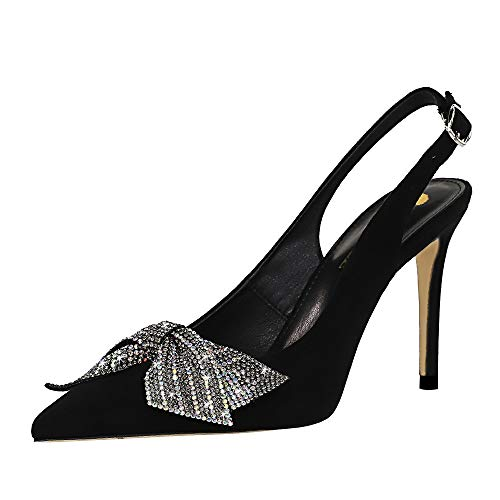 TH-SHOES Vrouwen Spitse Neus Back Strap Kitten Hiel Slingback Corut Schoenen Slingback Dress Pumps Rhinestone (Color : Black, Size : EU 35)
